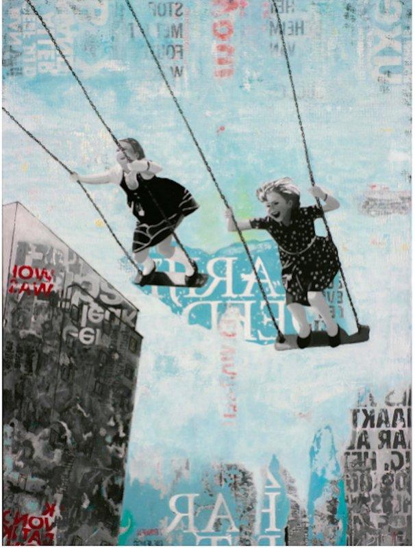 by deb-waterman - Saturday Swing - joyful street art urban landscape grey and blue painting