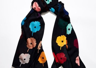 work by Donald Sultan - WRAPPED IN A BOUQUET - Black scarf