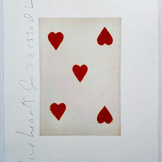 Playing Cards: Five of Hearts art for sale