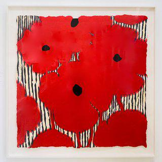 Eight Red Poppies with flocked centers art for sale