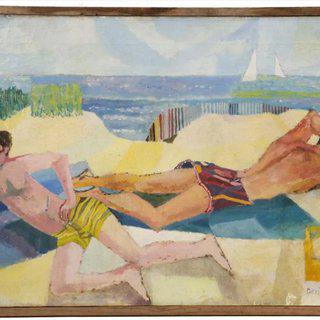 Untitled (two men sunbathing Provincetown) art for sale
