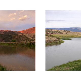 "diptych from series Sight Seen; ""Gates of Lodore, dawn"" and ""Green River, raft"" art for sale"