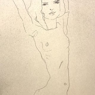 Nude Girl with Arms Raised art for sale