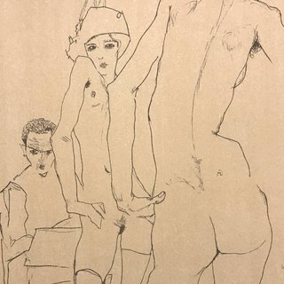 Schiele Drawing a Nude Model Before a Mirror art for sale