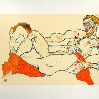 Reclining Male and Female Nude, Entwined art for sale