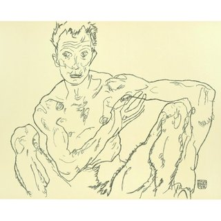 Crouching Male Nude (Self-Portrait) After Egon Schiele art for sale