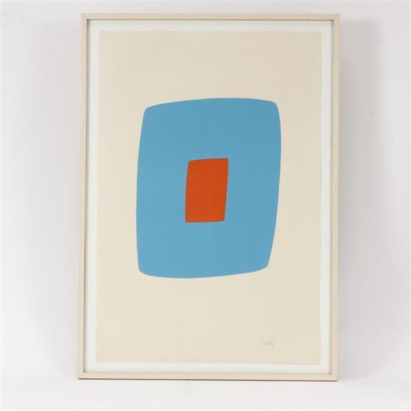 view:12185 - Ellsworth Kelly, Light Blue With Orange VI.11 -