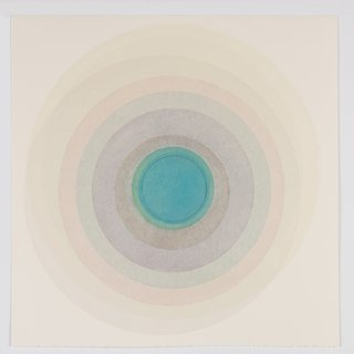 Coaxist 10819 - Soft pastel color abstract geometric circles watercolor on paper art for sale