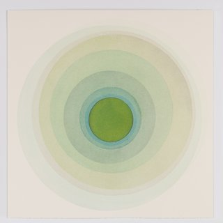 Coaxist 10719 - Soft pastel green abstract geometric circle watercolor on paper art for sale
