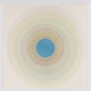 Coaxist 10619 - Soft pastel color abstract geometric circle watercolor on paper art for sale