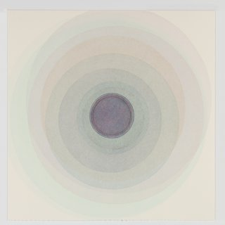 Coaxist 10519 - Soft pastel blue abstract geometric circle watercolor on paper art for sale