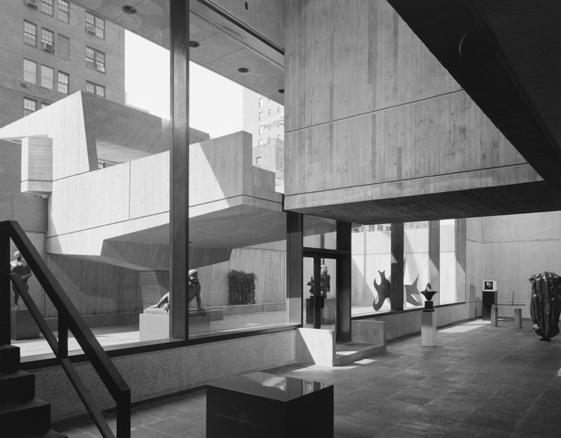 by ezra-stoller - Whitney Museum, Marcel Breuer, New York, NY ( lower lobby and canopy)