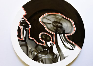 work by Frank Stella - Vortex Engraving #4 Charger Plate