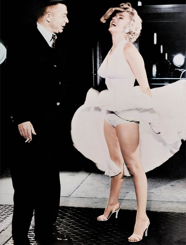 "main work - Frank Worth, Marilyn Monroe on the set of ""The Seven Year Itch"" - Colorized"