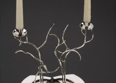 work by Genevieve E. Flynn - Tree of Life Shabbat Candlesticks