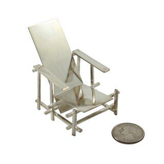 "Gerrit Rietveld, ""Red Blue"" Miniature Sterling Silver Chair"