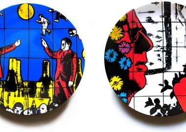 work by Gilbert & George - Flight and Winter Flowers Plate Set