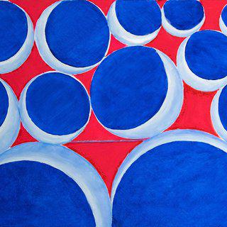 Circles on Red art for sale