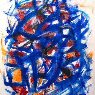 Blue and Orange Match art for sale