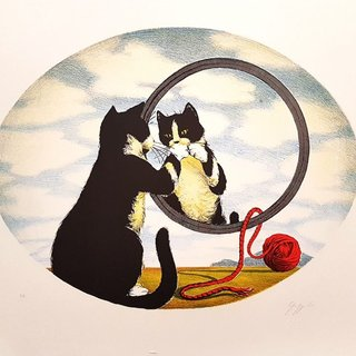 Cat at the Mirror art for sale