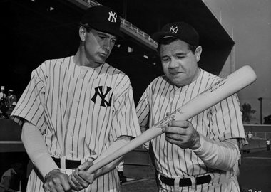 "Globe Photo Agency - Gary Cooper and Babe Ruth ""The Pride of the Yankees"""