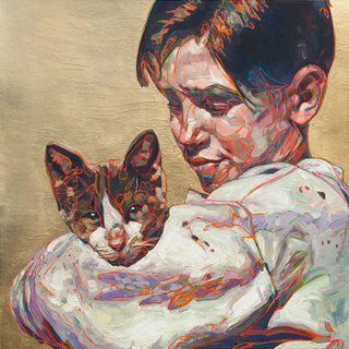 Hung Liu, Migrant Child: with Cat, ed. 4/9