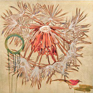 Dandelion with Red Bird, ed. 2/9 art for sale