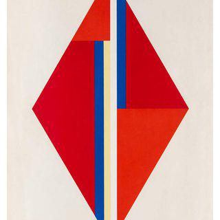 Geometric Composition with Red Diamond art for sale