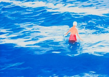 work by Isca Greenfield-Sanders - Wading II (Blue)