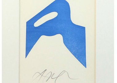 Jean Hans Arp - Untitled (Blue Square with Green)