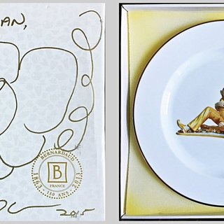 Original flower drawing on presentation box with Limited Edition porcelain plate inside: Banality Series (Service Plate), Michael Jackson and Bubbles) art for sale