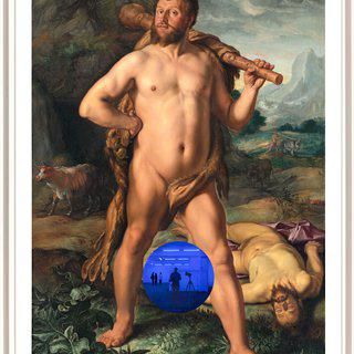 Gazing Ball (Goltzius Hercules and Cacus) art for sale