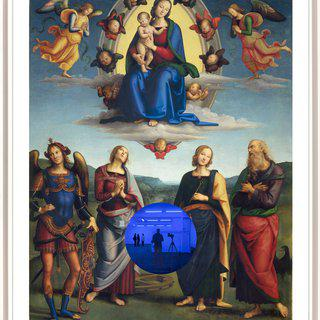 Gazing Ball (Perugino Madonna and Child with Four Saints) art for sale