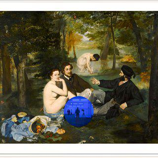 Gazing Ball (Manet Luncheon on the Grass) art for sale