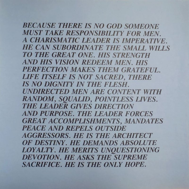 holzer inflamatory essays Jenny holzer 20 inflammatory essays, 1979-82 set of 20 offset posters on colored paper signed on one sheet, on reverse image/paper size.