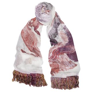 Multicolored silk—jacquard scarf art for sale