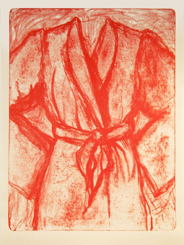 main work - Jim Dine, Cream and Red Robe on a Stone
