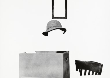 work by John Baldessari - Box, Hat, Frame and Chair