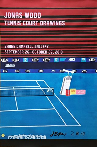 Jonas Wood - Tennis Court Drawings (Hand Signed), Print