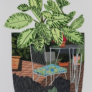 Jonas Wood, Landscape Pot with Flower Chair (poster)