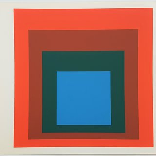 "Josef Albers, Homage to the Square: Blue + Darkgreen with 2 Reds (from ""Albers"")"