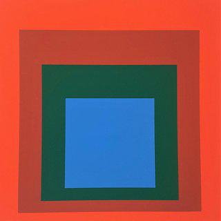 "Homage to the Square: Blue + Darkgreen with 2 Reds (from ""Albers"") art for sale"
