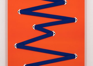 work by Joshua Saunders - Blue Gesture on Neon Orange (Denver Broncos #2)