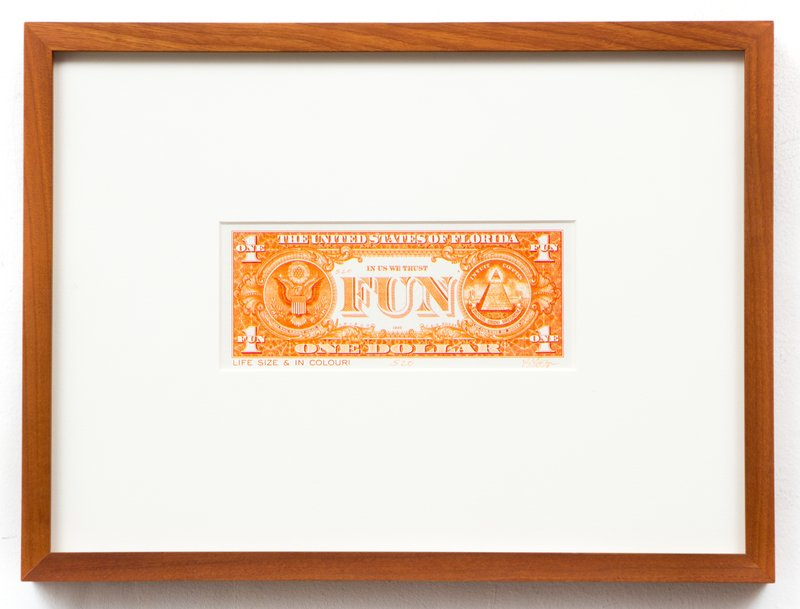 main work - J.S.G. Boggs, Orange One Dollar Fun Buck