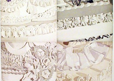 work by Julia Jacquette - White on White (Four Sections of Wedding Cake)