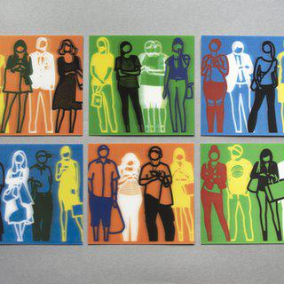 Standing people lenticular (set of 6) art for sale