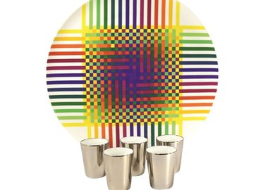 Julio Le Parc - Surface Colorée B29, Round platter and 5 platinum cups