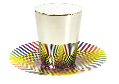 Julio Le Parc - Surface Colorée B29, Platinum espresso cups and saucers (Set of 2)