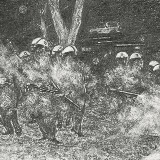 Untitled (LAPD Officers from Parker Center advance across City Hall lawn against stricken rioter) art for sale