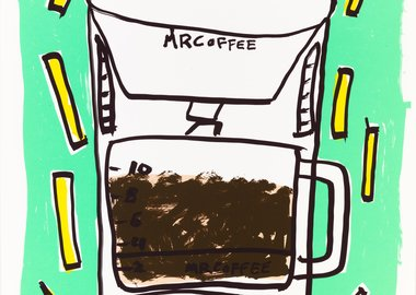 work by Katherine Bernhardt - Mr. Coffee with Fries